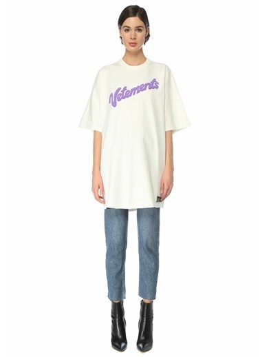 Vetements Vetements Oversize  Bisiklet Yaka Logolu T-shirt 101600740 Beyaz